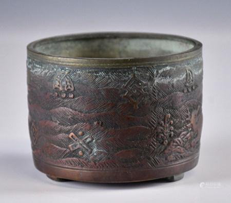 民國三足銅爐刻紋