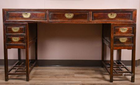 19世紀 鑲大理石硬木書桌