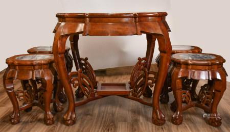 20世紀 鑲大理石硬木餐桌五件套