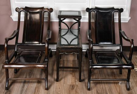 19世紀 酸枝觀月椅對連幾三件一組