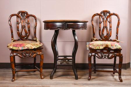 19世紀 酸枝桌椅三件套