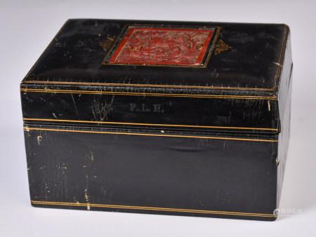 19世紀 橋牌雕漆盒