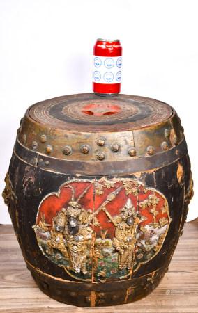 19世紀 古典人物雙龍耳鎏金木雕圓筒