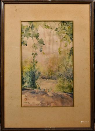 程及 (1912-2005)風景 水彩 鏡框