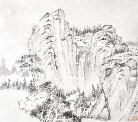 黃賓虹(1865-1955)山水 水墨紙本 鏡框