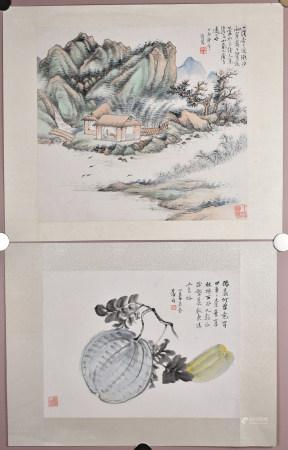 袁培基 (1870-1943) 和郝俞 山水蔬果