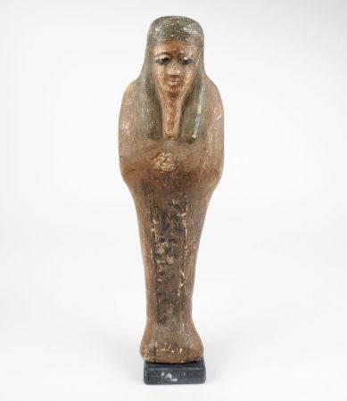 Ptah Sokhar Osiris divinité liée au culte de la résurrection à restes d'engobe polychrome et d'