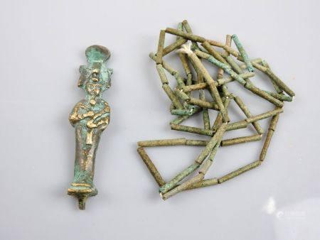 Collier perles de momie en  fritte et Dieu Osiris en bronze.Basse Epoque et postéri.