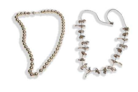 Zuni Silver Fetish Necklace & Silver Bead Necklace