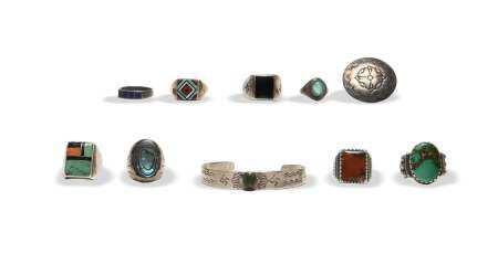10 Piece Navajo, Zuni, Etc. Sterling Jewelry Lot