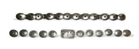 2 Sterling Concho Belts Onyx & Chrysoprase