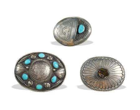 3 Navajo Sterling Belt Buckles, Agate & Turquoise