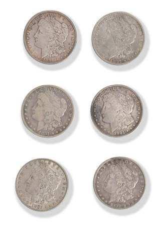 6 Morgan Silver Dollars, 1881 - 1921