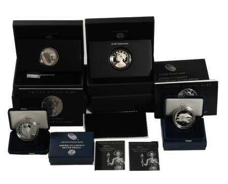 4 American Liberty Silver Proof Medals, 2016, 2017