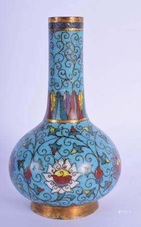 A 17TH/18TH CENTURY CHINESE CLOISONNE ENAMEL BULBOUS VASE Ming/Qing, decorated with foliage and trailing vines. 14 cm high.