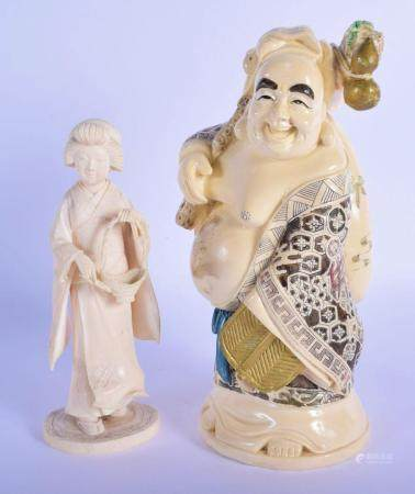 A 19TH CENTURY JAPANESE MEIJI PERIOD CARVED IVORY FIGURE together with a figure of a buddha. Largest 23 cm high. (2)