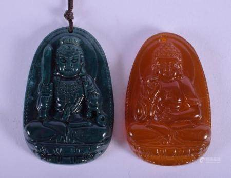 TWO CHINESE CARVED AGATE BUDDHISTIC PENDANTS 20th Century. 4.25 cm x 3.25 cm. (2)