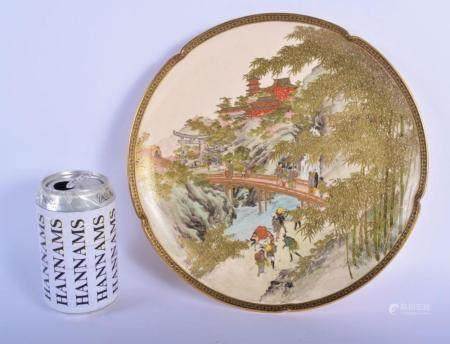 A LATE 19TH CENTURY JAPANESE MEIJI PERIOD SATSUMA DISH painted figures on a bridge within a landscape. 24 cm wide.