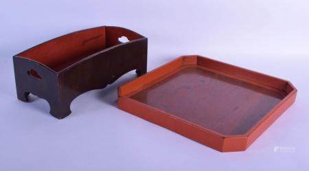 TWO 18TH/19TH CENTURY JAPANESE EDO PERIOD BLACK AND RED NEGORO LACQUER WARES one of Oshiki type form. Largest 34 cm square. (2)