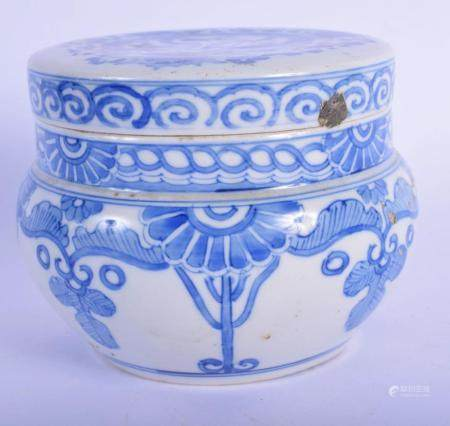 A 19TH CENTURY JAPANESE BLUE AND WHITE PORCELAIN JAR AND COVER painted with flowers and a dragon. 11 cm wide.