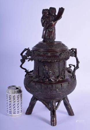 A LARGE 19TH CENTURY JAPANESE MEIJI PERIOD TWIN HANDLED BRONZE VASE AND COVER modelled as a seated scholar under a dual finial. 44 cm x 18 cm.