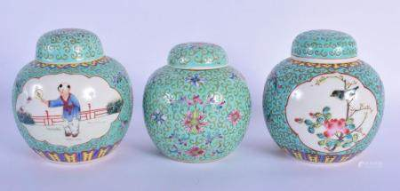 THREE CHINESE REPUBLICAN PERIOD FAMILLE ROSE GINGER JARS AND COVERS painted with figures and birds. 14 cm x 8 cm. (3)