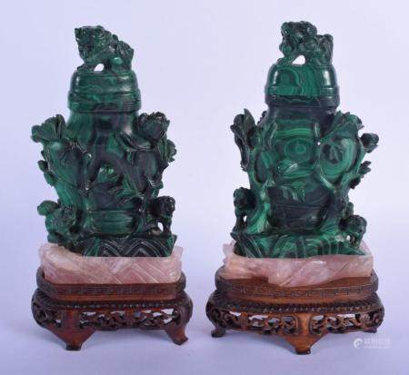 A RARE PAIR OF 19TH CENTURY CHINESE MALACHITE AND ROSE QUARTZ VASES AND COVERS Qing, overlaid with Buddhistic lions and foliage. Stone 13 cm x 9 cm.