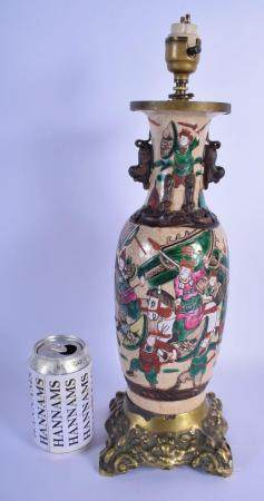 A 19TH CENTURY CHINESE CRACKLED GLAZED FAMILLE VERTE VASE converted to a lamp, with French mounts. 42 cm high overall.