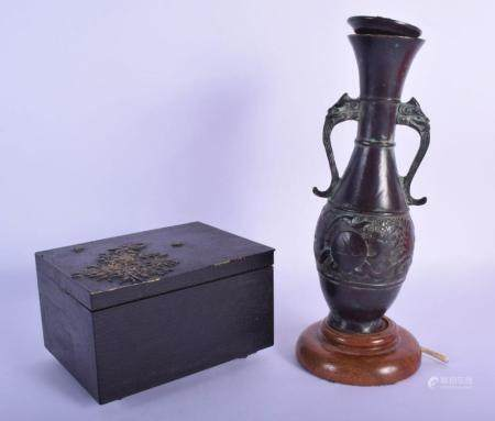 AN EARLY 20TH CENTURY JAPANESE MEIJI PERIOD MIXED METAL CASKET decorated with foliage, together with a Chinese bronze vase. Largest 27 cm high. (2)