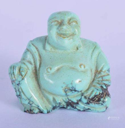 AN EARLY 20TH CENTURY CHINESE CARVED TURQUOISE SCHOLARS FIGURE OF A BUDDHA Late Qing/Republic. 3.5 cm x 3 cm.