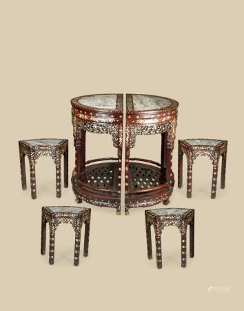 清代(1644~1911) 红木嵌螺钿镶云石面拼桌 扇形凳 (六件一组)
