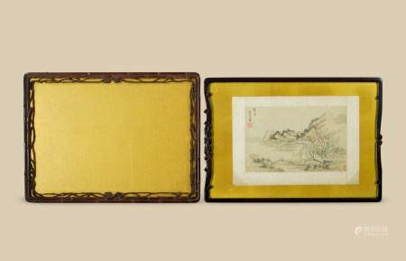 竹叶纹镜框 红木夔龙纹 (二件一组)