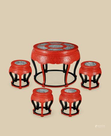 剔红缠枝莲纹嵌大理石圆桌 圆凳 (五件一组)
