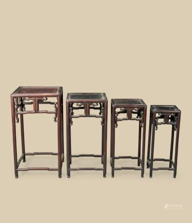 清代(1644~1911) 红木四方套几 (四件一组)