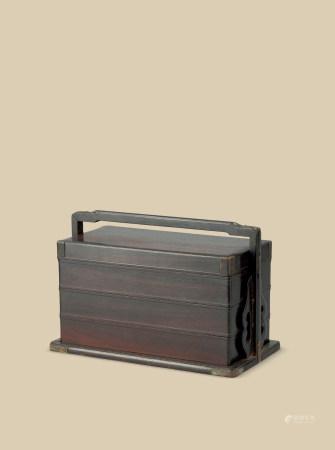 清代(1644~1911) 紫檀三重长方提梁盒