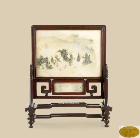 清代(1644~1911) 红木嵌云石座屏