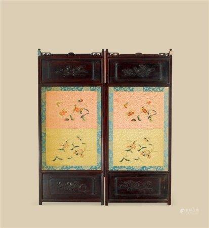清乾隆(1736~1795) 紫檀嵌银丝嵌花卉纹刺绣山水人物花卉纹二折屏