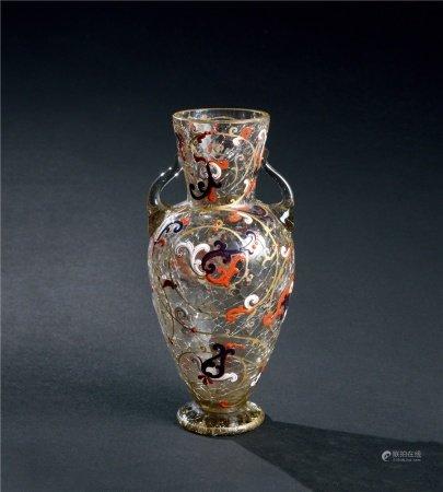 清代(1644~1911) 料胎珐琅彩花卉纹双耳瓶