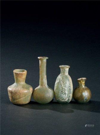 唐代(618~907) 各式料器小瓶 (四件一组)