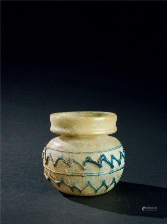 唐代(618~907) 绿料套蓝料线条纹小罐