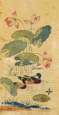 刺绣 荷塘鸭趣 立轴