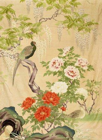 缂丝 富贵花鸟 掛毯
