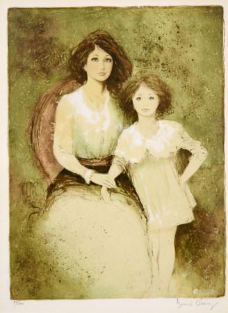 BERNARD CHAROY  母子肖像 版画