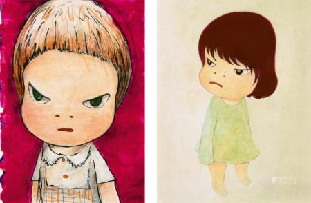 奈良美智(b.1959)  女孩 (二幅) 镜心 设色纸本