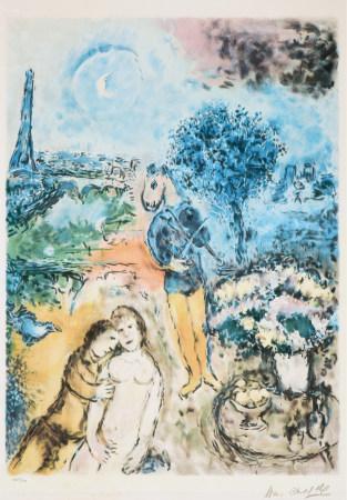 马克·夏加尔(1887-1985)  月光下的恋人 版画