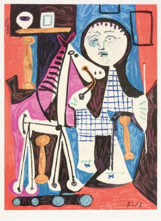 毕加索(1881-1973)  有轮子的马与孩子 版画