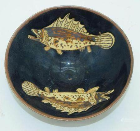 A Chinese Jiang ware bowl decorated with fish 15 x 5.5cm.