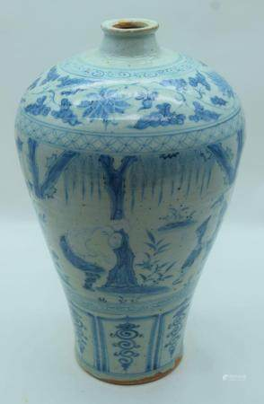 A large Chinese blue and white Meiping vase decorated with foliage and figures 41cm.