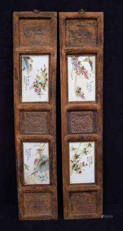 A pair of framed Chinese porcelain panels decorated with birds and lotus flower. Panel frame 84 x 17cm (2).