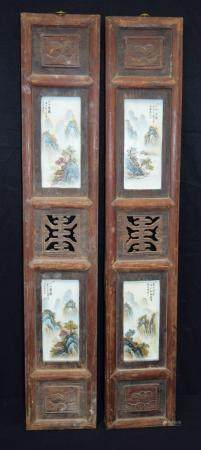 A pair of framed Chinese porcelain panels decorated with mountainous landscapes . Panel frame 84 x 17cm (2).